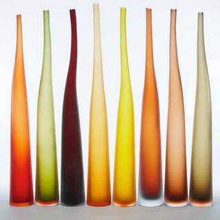 Set of Eight Murano Coloured Glass 'Bambu' Vases, Laura de Santillana