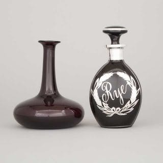 Silver Overlaid Amethyst Glass 'Rye' Decanter and a Carafe, 20th century -