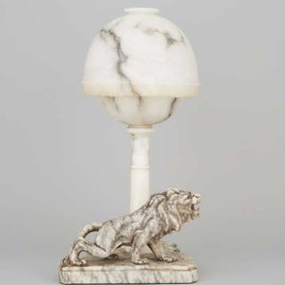Italian Carved Alabaster Lion Form Table Lamp, early-mid 20th century  -