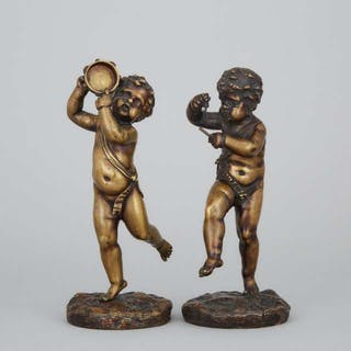 Pair of French Bronze Figures of Cherubic Musicians, 19th century -