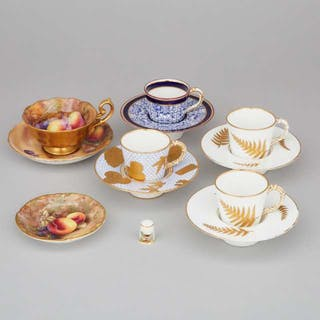 Five Various Royal Worcester Cups and Saucers, late 19th/20th century -