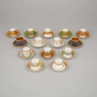 Set of Fourteen Raynaud Limoges 'Jeweled' Demi-Tasse Cups and Saucers