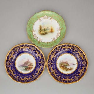 Three Coalport Blue, Green and Gilt Ground Topographical Plates, early