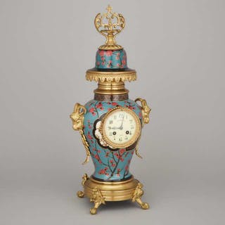 French Ormolu Mounted Ginger Jar Mantle Clock, early 20th century -