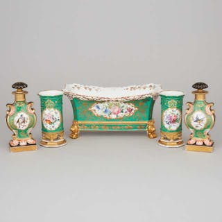 Pair of Paris Green Ground and Gilt Vases, Pair of Toilet Water Bottles
