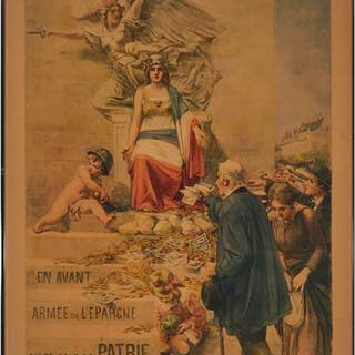 French WWI Propaganda Poster, 1916 - 2ME EMPRUNT DE LA DEFENSE NATIONALE