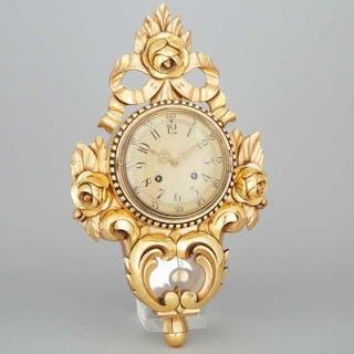 Swedish Giltwood Cartel Clock, mid 20th century -