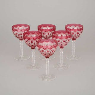 Six Bohemian Red Overlaid and Cut Glass Wine Glasses, early 20th century -