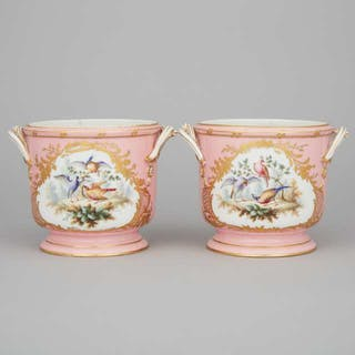 Pair of 'Sèvres' Pink Ground Cachepots, 19th century -