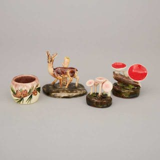 Two Lorenzens Pottery Mycological Groups, Model of a Deer and a Small
