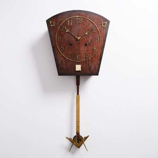Seth Thomas Masonic Oak and Brass Regulator Number 40 Wall Clock, c.1910 -