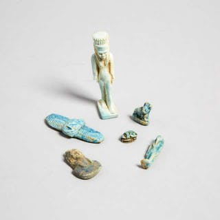 Six Egyptian Faience Amulets, Late Period, 3500-30 B.C. -