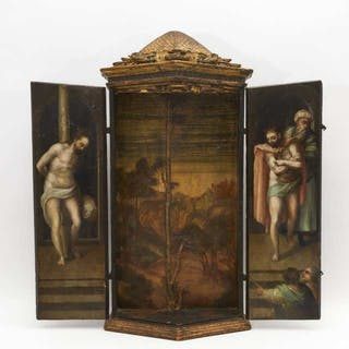 Italian Painted and Gilt Portable Triptych Altar, 17th century -