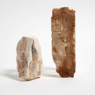 Two Ptolmaic Period Style Egyptian Painted Limestone Tomb Fragments -