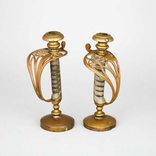 Pair of Victorian 1822 Pattern Sword Hilt Candlesticks, 19th century -