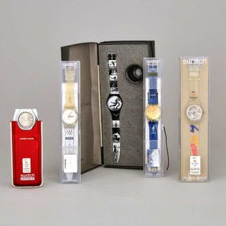 Five Olympic Games Related Swatch Watches, 1996-2000 -
