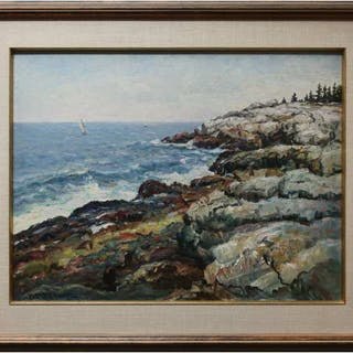 PARKER M. GAMAGE (AMERICAN, 1882-1960)    - THE WHITE CLIFFS OF PEMAQUID