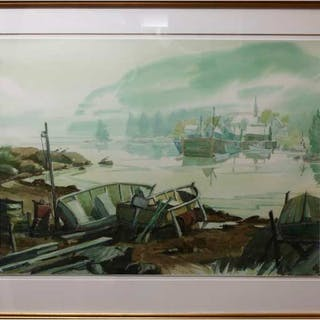 ANTOINE ST. GILLES (CANADIAN, 1956-)    -  BARQUES AU REPOS