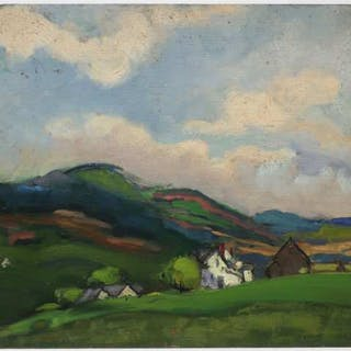 MID 20TH CENTURY   -  UNTITLED (LANDSCAPE WITH FARM HOUSES)