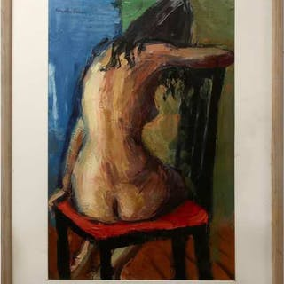 TIMOTHY VIVIAN (BRITISH, 1926-2018)     - NUDE ON UPRIGHT CHAIR
