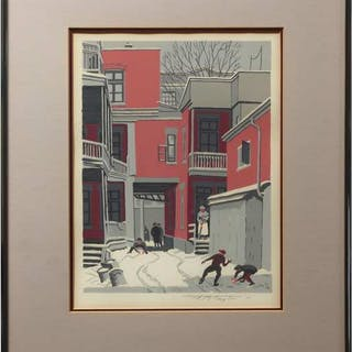 FREDERICK BOURCHIER TAYLOR (1906-1987)- COURTYARD OFF ST. LAWRENCE