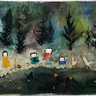 JANET MITCHELL (CANADIAN, 1912-1998)  - A ROW OF BIRDS & KIDS