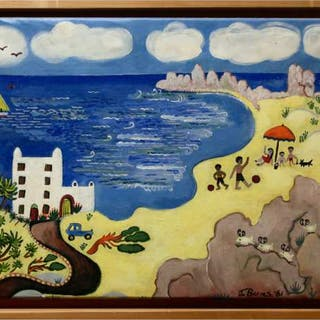 JANICE BARNES (CANADIAN, 20TH CENTURY)     - UNTITLED (BEACH SCENE)