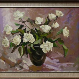 OTTO N. GREBZE (LATVIAN-CANADIAN, 1910-1999)- UNTITLED (WHITE ROSES