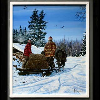 ROBERT PAANANEN (CANADIAN, 1934-)    - BRINGING HAY TO THE CAMP STABLE