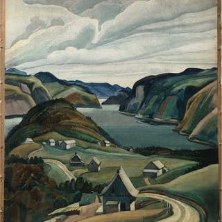 PETER HAWORTH (CANADIAN, 1889-1986)   - UNTITLED (COASTAL VIEW WITH HOUSES)
