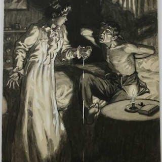 THOMAS NORMAN AULT (SCOTTISH, 1880-1950) - ILLUSTRATION: BEDTIME MEDICINE,1910