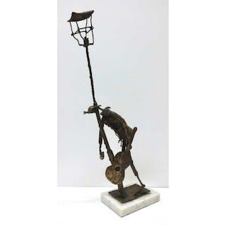 20TH CENTURY- DRUNK MUSICIAN LEANING ON STREET LAMP