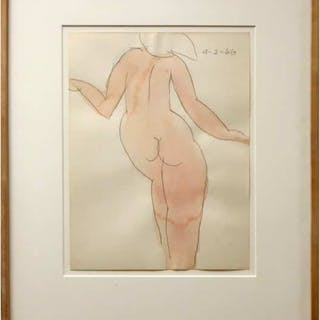 ROBERT WILLIAM SINCLAIR (CANADIAN, 1939-)  -  UNTITLED (STANDING NUDE)