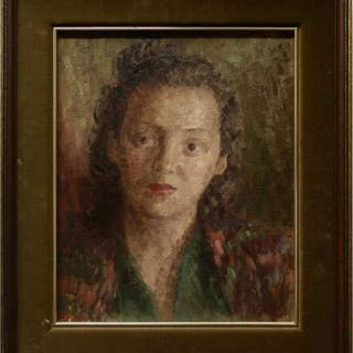 J. CAVERS (CANADIAN, 20TH CENTURY)- PORTRAIT OF A YOUNG WOMAN