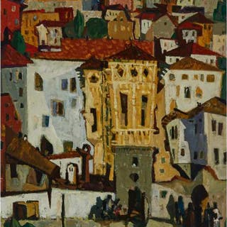 Mladen Srbinovic (1925-2006), Serbian - VILLAGE HOUSES, 1955