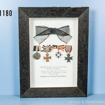 Preußen Erinnerungsrahmen mit 4 Auszeichnungen, Regiments-Erinnerungsmedaille