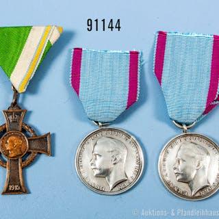 Konv. Sachsen Kriegsverdienstkreuz 1. WK sowie Großherzogtum Hessen
