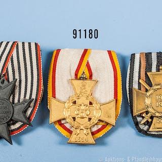 Konv. 3 Einzelspangen, Lippe Detmold Kriegsverdienstkreuz, EKF und
