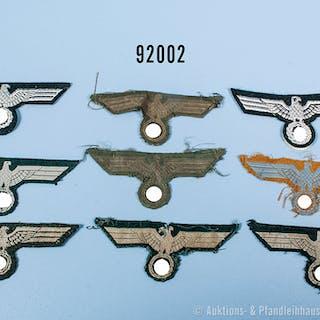 Konv. Wehrmacht/Heer, 9 Brustadler für Mannschaften, gemischter Zustand