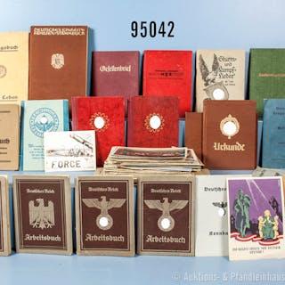 Konv. Ausweise und Dokumente, überwiegend 3. Reich, u.a. Leistungsbuch