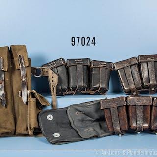 Ausrüstungskonvolut 2. WK, 3 dreiteilige Patronentaschen für 98 K