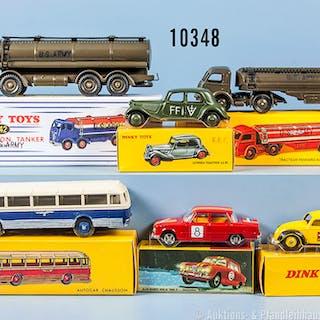 Konv. 6 Dinky Toys Replika Fahrzeuge, dabei 32 C, 942, 262, 1401