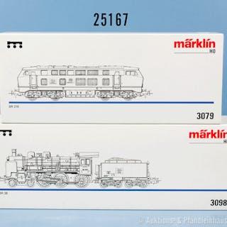 Konv. 2 Märklin H0 Lokomotiven, dabei 3079 Diesellok der DB, BN 216