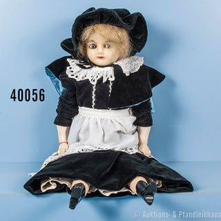 """uralte Wachskopfpuppe um 1860 """"Peddlar Doll"""", Stoffkörper, Arme und"""