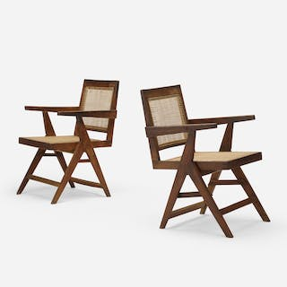 PIERRE JEANNERET, Y-frame armchairs from Chandigarh, pair | Wright20.com