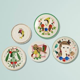 COLETTE GUEDEN, plates, set of five | Wright20.com