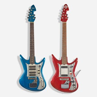 TEISCO AND SILVERTONE, 1966 Sharkfin electric guitars, set of two