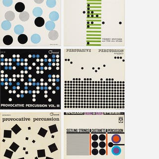 collection of six records with album art by Josef Albers | Wright20.com