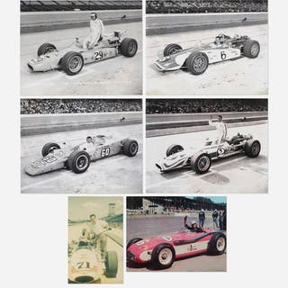 ARTIST UNKNOWN, collection of six race car driver photographs | Wright20.com