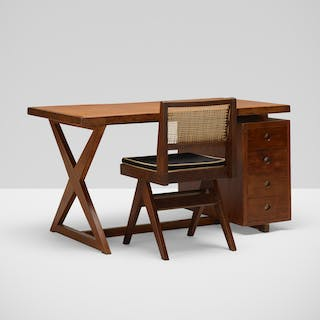 PIERRE JEANNERET, desk and chair from Chandigarh | Wright20.com